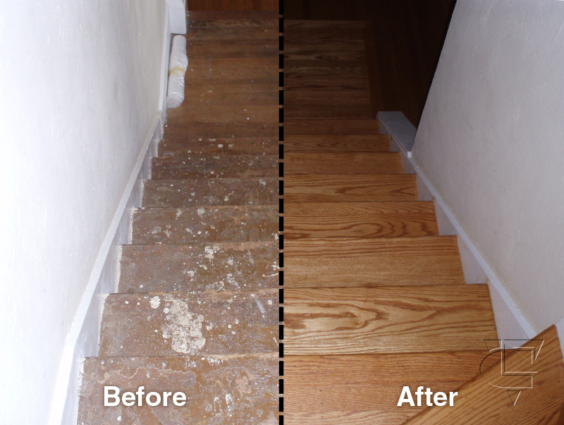 Before and after oakland wood floors for Before and after flooring