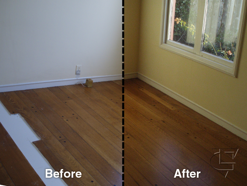Specialty floor upgrades oakland wood floors for Before and after flooring